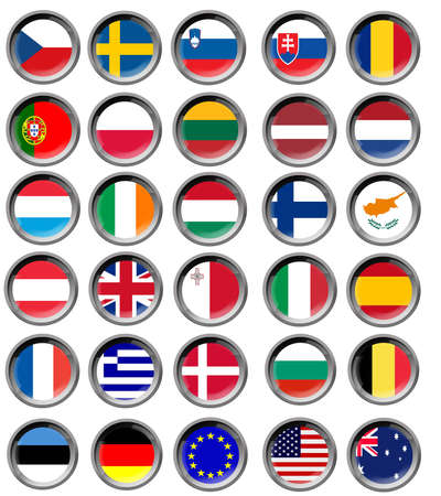 All EU flags in buttons photo