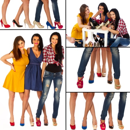 Collage of women with shoes with frame photo