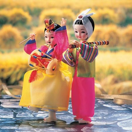 puppets: Portrait of Korean little children Stock Photo
