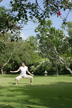 Young man practising Qigong