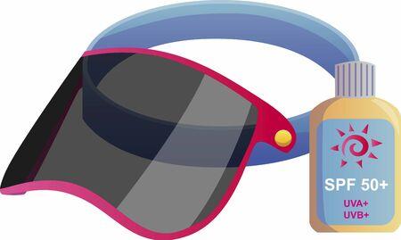 sun lotion: Suntan Lotion and sun visor