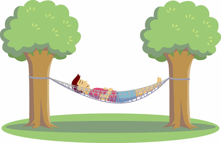 one man resting on hammock