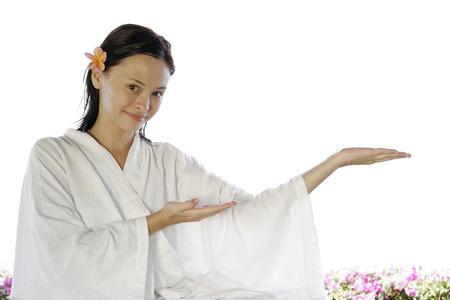 oriental bathrobe: Young woman wearing bathrobe