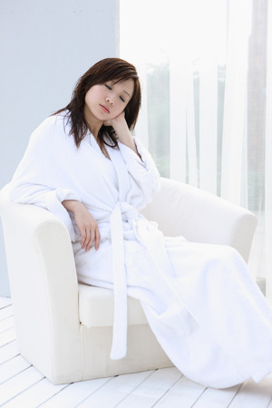oriental bathrobe: Portrait of a young woman Stock Photo