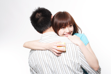 Close-up portrait of a couple hugging  Stock Photo