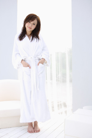 oriental bathrobe: Girl in bathrobe standing