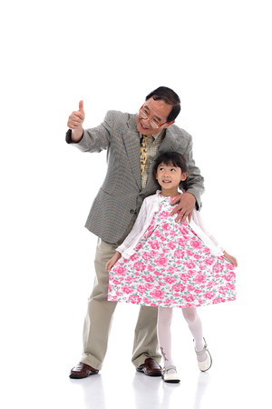 Senior man and little girl Stock Photo