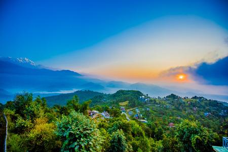 pokhara: Nepal, Pokhara, Machapuchare sunrise Stock Photo