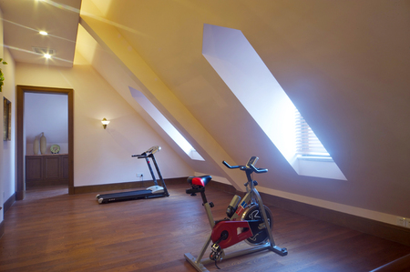 attic: Interior view of a home with gym equipment