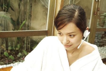 oriental bathrobe: Close-up of woman wearing bathrobe