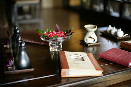 Spa menu on the table