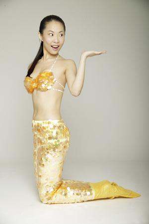 Portrait of young woman wearing sea-maid clothes Banco de Imagens