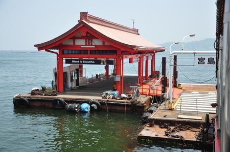 Miyajima Ferry Station landscape view, Japan Редакционное
