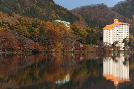榛名湖、日本 写真素材