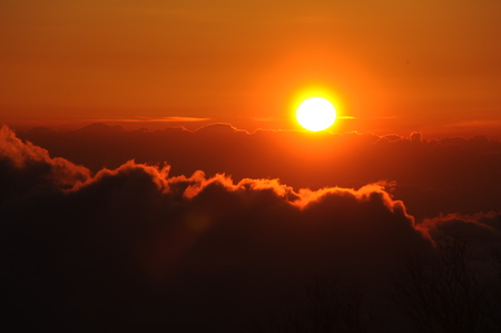 Sunrise view of Mount Fuji Stock Photo