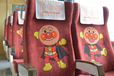 Close up to trains seats with Anpanman character Editorial