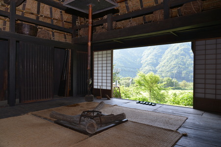 Interior view of a living area in a Japanese style building