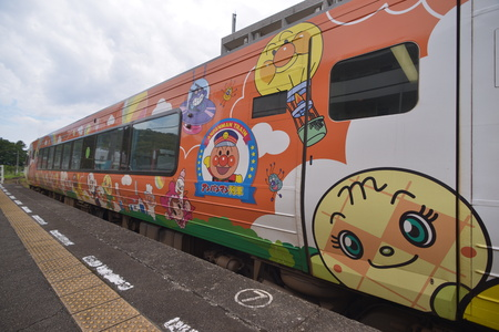cartoon theme train in Japan