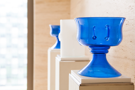 large blue cups as decoration