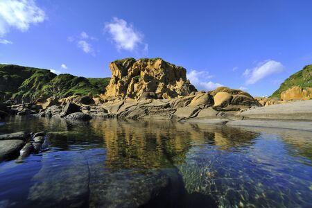 The mirror reflection of Tofu Rock Hoping Island Keelung Stok Fotoğraf