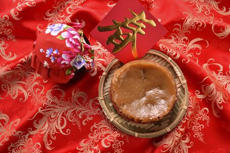 High angle shot of Chinese New Year glutinous rice cake China