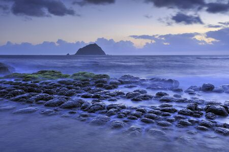 The Tofu Rock with magic atmosphere in Hoping Island Keelung Stock Photo