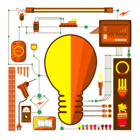 electric bulb: vectors set galvanic element and electric light bulb