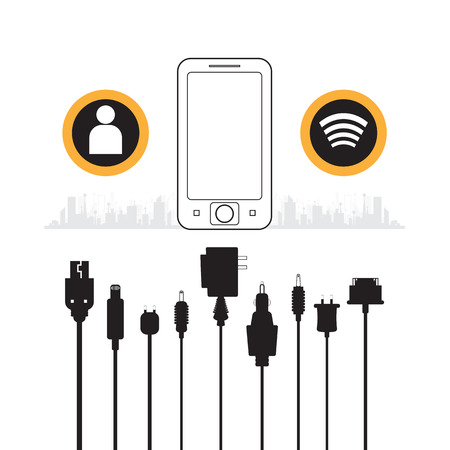 vector Cellphone usb charging plugs on white background Illustration