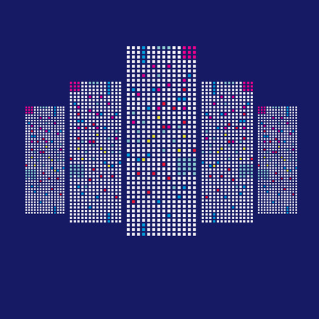city building: Illustration of skyscrapers City building on blue background Illustration