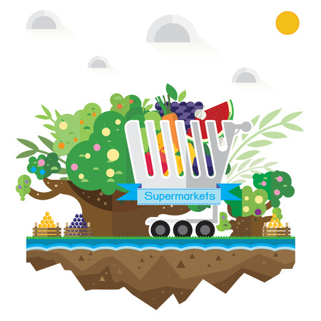 supermarket trolley: Vector Shop supermarket trolley, fruit, grass, soil tree and water Illustration