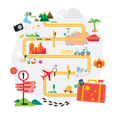 모험 개념 벡터에 대한 준비가 여행, 휴일, 휴가 가방 스톡 콘텐츠 - 40926854