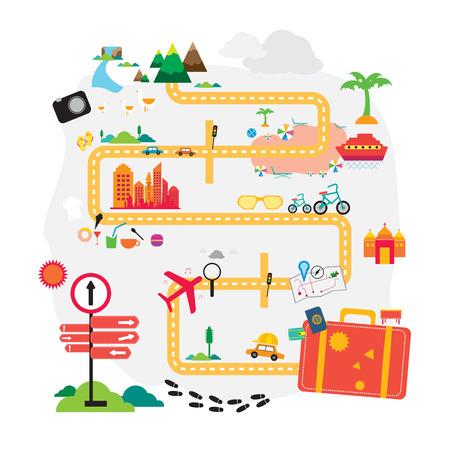 Reizen vakantie vakantie koffer klaar voor het avontuur concept vector