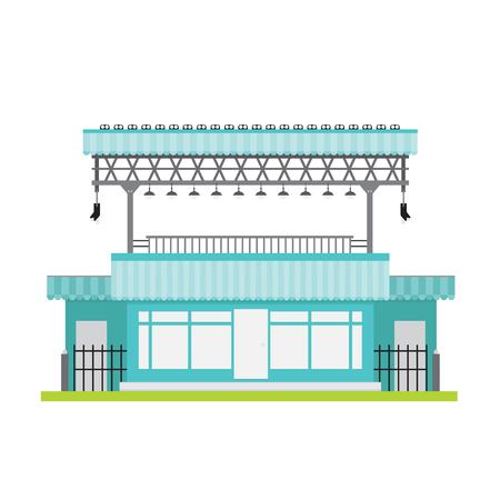 building entrance: shop building vector front window gray blue black white steel lamp entrance exit