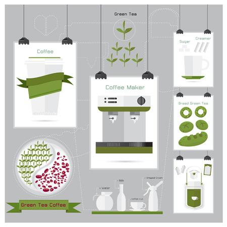 coffee leaf: coffee green tea coffee leaf menu Apron coffee Mug Sugar ribbon Illustration