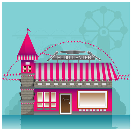 food store: shop castle  building  vector  food  store  interior table window door amusement park