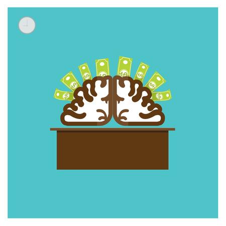 financial success: Business-Konzept Vektor-Illustration Silber Gehirn Thought Leadership, finanziellen Erfolg Dollar-Gesch�ft