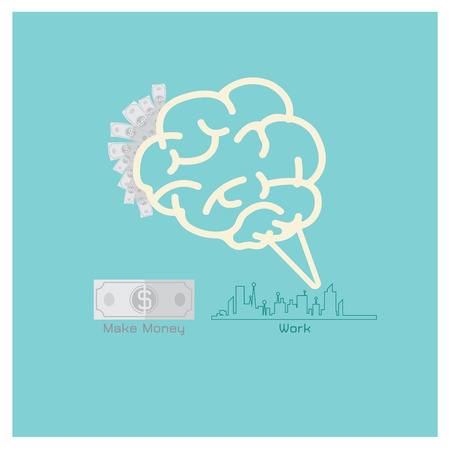 worked: Business vector concept shows  brain think about the dollar worked in the city
