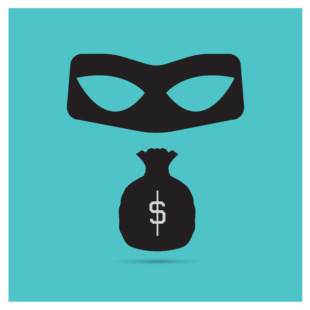 theft: Business vector illustration of a beautiful black icon theft money isolated in a modern style with a reflection effect depicting a criminal
