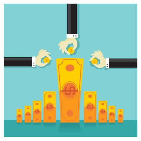 Business vector investment money cash rich savings bank Vektoros illusztráció