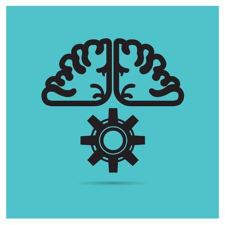 backlash: Vector business brains backlash mechanism on a blue background Illustration