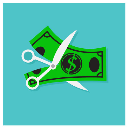Vector scissors money lack of business on a blue background