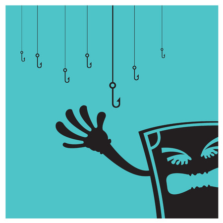 unbalanced: Vector Money fear Bed metaphor fishing business on a blue background Illustration