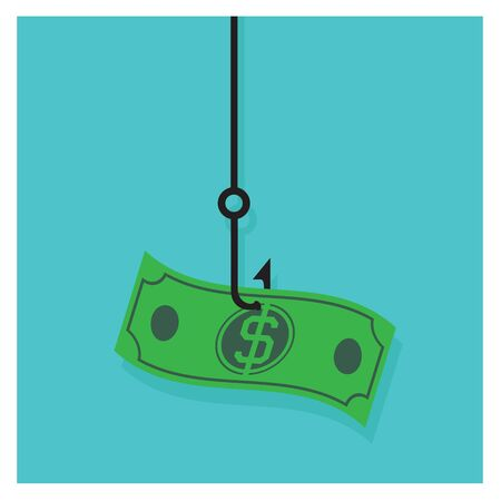 pile of cash: Business Vector hook icon dollar cash pile of money on a blue background
