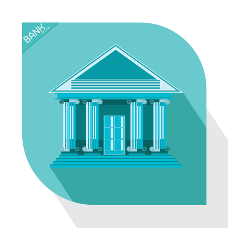 vector: bank blue icon vector building business market money office Illustration