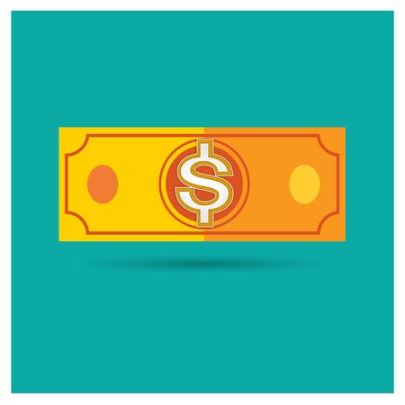 american downloads: dollar orange vector money icon illustration business on blue background