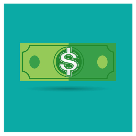 american downloads: dollar green vector money icon illustration business on blue background