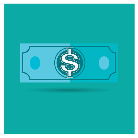 american downloads: dollar blue vector money icon illustration business on blue background