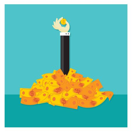 Business investment cash Vector Orange Savings