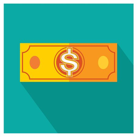 american downloads: dollar orange vector money icon illustration business on blue