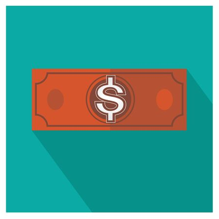 american downloads: dollar brown vector money icon illustration business on blue